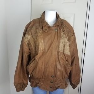 VTG WINLIT Women's Med Brown SUEDE LEATHER Jacket